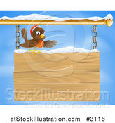 Vector Illustration of a Christmas Robin Presenting on a Wooden Shingle Sign with Snow by AtStockIllustration