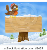 Vector Illustration of a Christmas Robin with a Santa Hat Perched on a Blank Wooden Sign in the Snow by AtStockIllustration