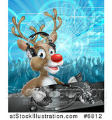 Vector Illustration of a Christmas Rudolph Reindeer Dj Wearing Headphones over a Turntable and People Dancing in the Background by AtStockIllustration
