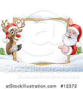 Vector Illustration of a Christmas Santa Claus and Reindeer with a Blank Sign in a Snowy Landscape by AtStockIllustration