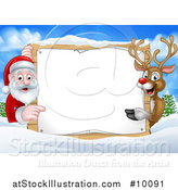 Vector Illustration of a Christmas Santa Claus and Rudolph Red Nosed Reindeer Pointing Around a Sign over a Winter Landscape by AtStockIllustration