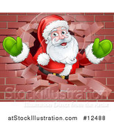 Vector Illustration of a Christmas Santa Claus Breaking Through a Brick Wall by AtStockIllustration