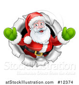 Vector Illustration of a Christmas Santa Claus Breaking Through a Hole in a Wall by AtStockIllustration