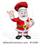 Vector Illustration of a Christmas Santa Claus Chef Giving a Thumb up and Gesturing Perfect or Ok by AtStockIllustration