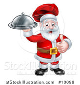 Vector Illustration of a Christmas Santa Claus Chef Giving a Thumb up and Holding a Cloche Platter by AtStockIllustration