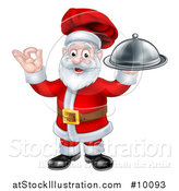 Vector Illustration of a Christmas Santa Claus Chef Holding a Cloche Platter and Gesturing Perfect or Ok by AtStockIllustration
