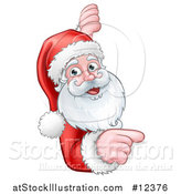 Vector Illustration of a Christmas Santa Claus Face Pointing Around a Sign by AtStockIllustration
