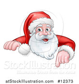 Vector Illustration of a Christmas Santa Claus Face Pointing over a Sign by AtStockIllustration