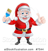 Vector Illustration of a Christmas Santa Claus Giving a Thumb up and Holding a Blue Paintbrush by AtStockIllustration