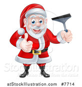 Vector Illustration of a Christmas Santa Claus Giving a Thumb up and Holding a Window Cleaning Squeegee 4 by AtStockIllustration