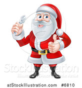 Vector Illustration of a Christmas Santa Claus Giving a Thumb up and Holding a Wrench by AtStockIllustration