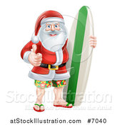 Vector Illustration of a Christmas Santa Claus Giving a Thumb up and Standing with a Surf Board by AtStockIllustration