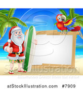 Vector Illustration of a Christmas Santa Claus Giving a Thumb up and Standing with a Surf Board on a Tropical Beach by a Blank White Sign with a Scarlet Macaw Parrot by AtStockIllustration