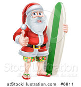 Vector Illustration of a Christmas Santa Claus Giving a Thumb up and Standing with a Surf Board on Vacation by AtStockIllustration