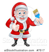 Vector Illustration of a Christmas Santa Claus Holding a Blue Paintbrush and Giving a Thumb up 2 by AtStockIllustration
