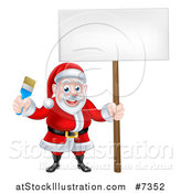 Vector Illustration of a Christmas Santa Claus Holding a Blue Paintbrush and Sign by AtStockIllustration