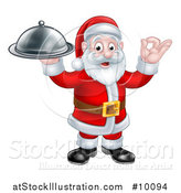 Vector Illustration of a Christmas Santa Claus Holding a Cloche Platter and Gesturing Perfect or Ok by AtStockIllustration