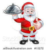 Vector Illustration of a Christmas Santa Claus Holding a Cloche Platter and Giving a Thumb up by AtStockIllustration