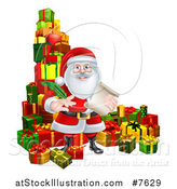 Vector Illustration of a Christmas Santa Claus Holding a Feather Pen and Scroll List by Gifts by AtStockIllustration