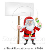Vector Illustration of a Christmas Santa Claus Holding a Green Paintbrush and Blank Sign by AtStockIllustration