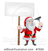 Vector Illustration of a Christmas Santa Claus Holding a Window Cleaning Squeegee and Blank Sign 4 by AtStockIllustration