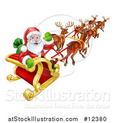 Vector Illustration of a Christmas Santa Claus in a Flying Magic Sleigh with Reindeer by AtStockIllustration