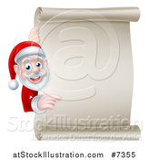 Vector Illustration of a Christmas Santa Claus Looking and Pointing Around a Blank Parchment Scroll by AtStockIllustration