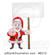 Vector Illustration of a Christmas Santa Claus Pointing at You and Holding a Blank Sign by AtStockIllustration