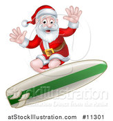 Vector Illustration of a Christmas Santa Claus Surfing by AtStockIllustration