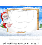 Vector Illustration of a Christmas Santa Claus with a Blank Sign in a Snowy Landscape by AtStockIllustration