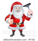 Vector Illustration of a Christmas Santa Giving a Thumb up and Holding a Window Cleaning Squeegee 2 by AtStockIllustration