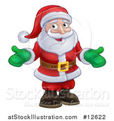 Vector Illustration of a Christmas Santa Wearing Green Mittens by AtStockIllustration