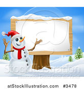 Vector Illustration of a Christmas Snowman Presenting a Wooden Sign by AtStockIllustration