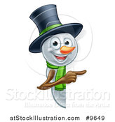 Vector Illustration of a Christmas Snowman Wearing a Green Scarf and a Top Hat, Pointing Around a Sign by AtStockIllustration