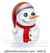 Vector Illustration of a Christmas Snowman Wearing a Scarf and Santa Hat by AtStockIllustration