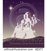Vector Illustration of a Christmas Star Shining over Bethlehem on a Purple Night by AtStockIllustration