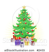 Vector Illustration of a Christmas Tree and 3d Gifts over Faint Rays by AtStockIllustration