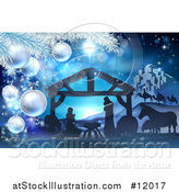Vector Illustration of a Christmas Tree Branch Framing a Blue Toned Nativity Scene with Animals, Wise Men, the City of Bethlehem and Star of David by AtStockIllustration