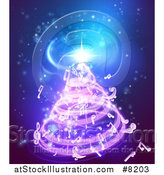 Vector Illustration of a Christmas Tree Formed of Music Notes on Blue by AtStockIllustration