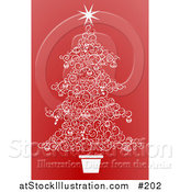 Vector Illustration of a Christmas Tree Made of White Swirls over Red by AtStockIllustration