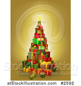 Vector Illustration of a Christmas Tree of 3d Gift Boxes on Gold by AtStockIllustration