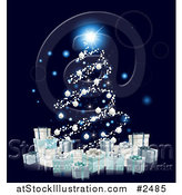Vector Illustration of a Christmas Tree of Glowing Orbs and 3d Silver Baubles over Gift Boxes by AtStockIllustration