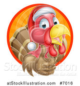 Vector Illustration of a Christmas Turkey Bird Wearing a Santa Hat and Giving a Thumb up in a Circle of Rays by AtStockIllustration