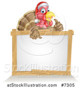 Vector Illustration of a Christmas Turkey Bird Wearing a Santa Hat and Giving a Thumb up over a Blank White Sign 2 by AtStockIllustration