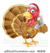 Vector Illustration of a Christmas Turkey Bird Wearing a Santa Hat and Holding Silverware by AtStockIllustration