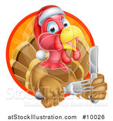 Vector Illustration of a Christmas Turkey Bird Wearing a Santa Hat and Holding Silverware, Emerging from a Sunny Circle by AtStockIllustration