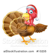 Vector Illustration of a Christmas Turkey Bird Wearing a Santa Hat and Pointing by AtStockIllustration