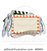 Vector Illustration of a Cinema Movie Theater Sign with Film Reels and a Clapper by AtStockIllustration