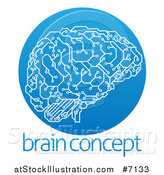 Vector Illustration of a Circuit Board Artificial Intelligence Computer Chip Brain in a Gradient Blue Circle over Sample Text by AtStockIllustration