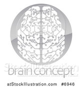 Vector Illustration of a Circuit Board Artificial Intelligence Computer Chip Brain in a Shiny Gray Circle over Sample Text by AtStockIllustration